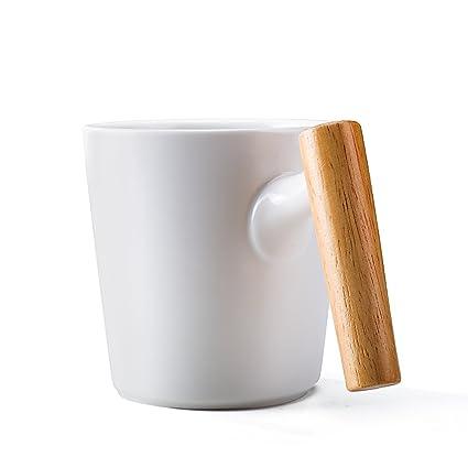 dda8af130ff Ceramic Coffee Mug 16 Ounce Tea Cup Large-sized Porcelain with Wooden  Handle For Birthdays