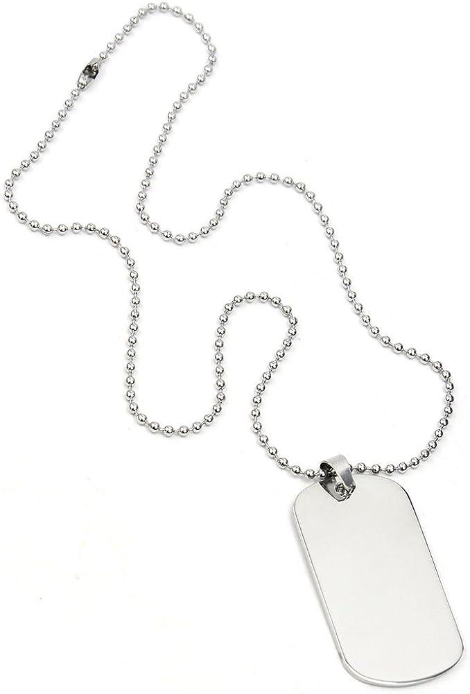 Pinzhi Clásico Plateado Hombre Acero Inoxidable Placa de Identidad Colgante Collar: Amazon.es: Joyería