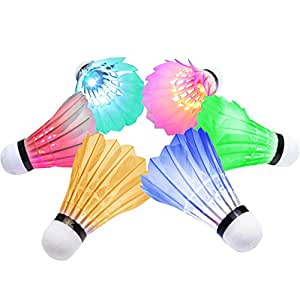 [6-Pieces]OuTera LED Shuttlecock Badminton Birdies Set Badminton Glow in the Dark Shuttlecocks Lighting for Outdoor Fun for Your Family[1 Year Warranty]