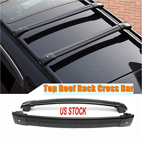 (MotorFansClub Black Aluminum Top Roof Rack Cross Bar, Luggage Rack Cargo Rail for Jeep Cherokee 2014-2019)