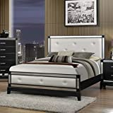 Roundhill Furniture Zimline Off White Faux Leather with Mirror Trim Bed, King
