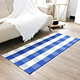 Homcomoda Doormats Cotton Plaid Checkered Area Rug Hand Braided Kitchen Floor Mats Runner Rugs Washable Carpet Blue&White (23.6' x 51.2')
