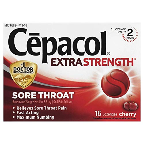 Cepacol Maximum Strength Throat Drop Lozenges, Cherry, 16 Count (Pack of 2)