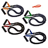 4 FIT CORD Covered Resistance Training Bands PADDED HANDLES, NYLON SAFETY SLEEVE & PREMIUM LATEX EXERCISE TUBE ** 1 VERY LIGHT, 1 LIGHT, 1 MEDIUM, 1 HEAVY WITH DOOR ANCHOR **
