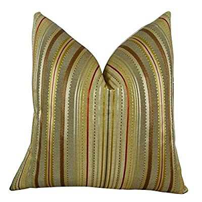 "Plutus Brands Plutus Kentucky Field Handmade Throw Pillow, 24"" x 24"", Gold/Red/Silver"