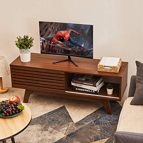 Itaar TV Stand, 43 Inch TV Console Storage Cabinet for Living Room, Modern Home Media Entertainment Center for Flat Screen TV Cable Box Gaming Consoles, Walnut 43.5 TV Console