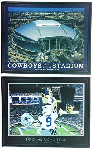 Dallas Cowboys AT&T Stadium Framed Aerial Photo & Little Legend Framed Lithograph Set of 2 LL5002