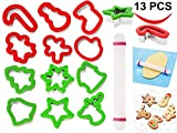 13 Pieces Stainless Steel Christmas Cookie Cutters with Comfort Grip 3.5' plus a Rolling Pin for Large Holiday Cookies, Snowflake Cookies, Gingerbread Man Cookies, Christmas Party and Baking Gift