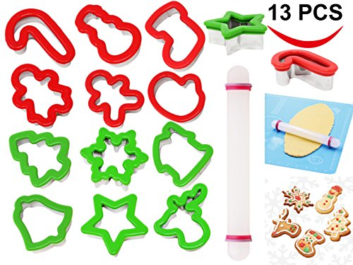 Christmas Holiday Cookie (13 Pieces Stainless Steel Christmas Cookie Cutters with Comfort Grip 3.5' plus a Rolling Pin for Large Holiday Cookies, Snowflake Cookies, Gingerbread Man Cookies, Christmas Party and Baking Gift)