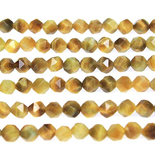 - MJDCB Best Sellers Natural Stone Beads Faceted Polygon Golden Tiger Eye Crystal Energy Stone Healing Power for Jewelry Making(8mm)