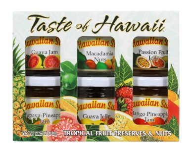 Hawaiian Sun Taste of Hawaii Tropical Fruit Preserves and Nuts 6 Mini Jar Gift Pack (Hawaiian Sun Guava Jelly compare prices)