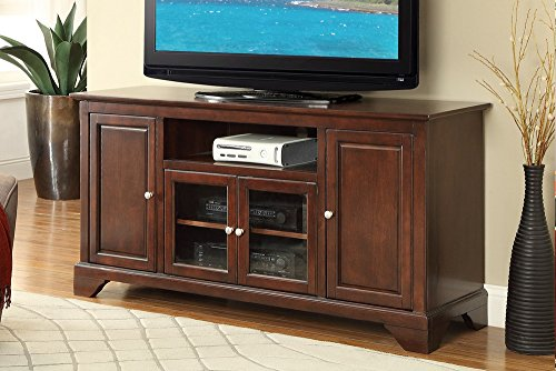Poundex F4547 Amedea Cherry Poplar Wood Solid TV Stand by