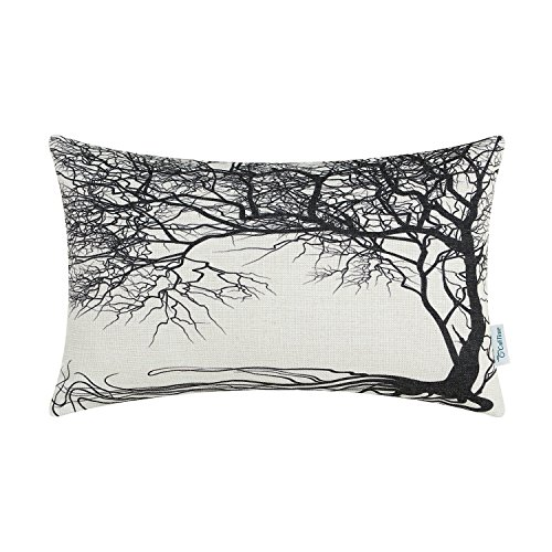 CaliTime Canvas Bolster Pillow Cover Case for Couch Sofa Home Decoration Vintage Big Old Tree 12 X 20 inches - Print Bolster