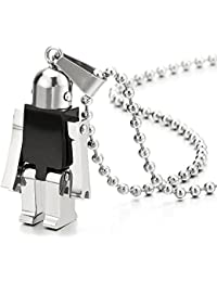 Moving Robot Pendant Necklace for Men Women Stainless Steel Black Silver with 23.6 in Ball Chain