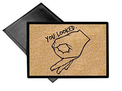 egeek amz You Looked Circle Hand Game Door Mat Welcome Mat 18x24 Outdoor Doormat Rug