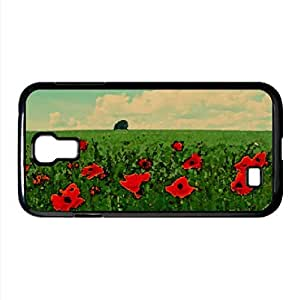 Field Of Poppies Watercolor style Cover Samsung Galaxy S4 I9500 Case (Landscape Watercolor style Cover Samsung Galaxy S4 I9500 Case)