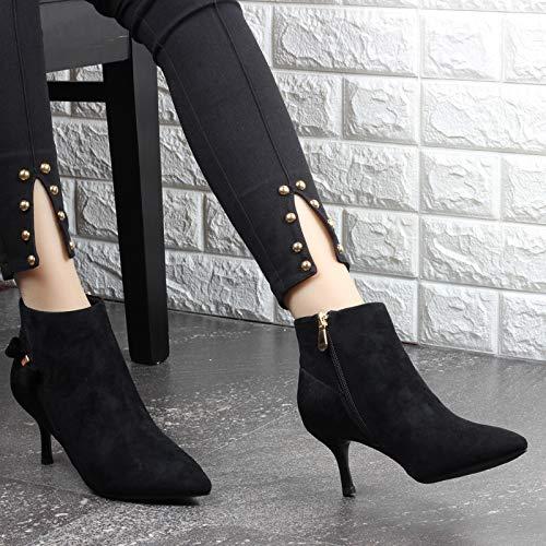 KPHY Damenschuhe Kurze Stiefel Mit Hohen 6 cm cm cm Dünne Sohle Single - Stiefel Wies Kopf Nahe Bei Seite Reißverschluss Mode Fliege Martin Stiefel. 2e9da3