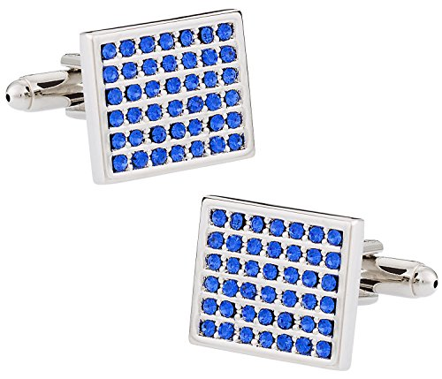 Cuff-Daddy Classy Silver Cufflinks with Inlaid Faux Blue Topaz Crystals in a Grid with Presentation Box