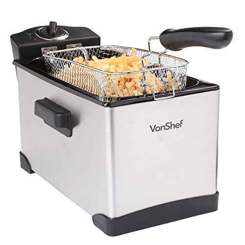 VonShef Stainless Steel Deep Fryer, 15 Cup, 3.5 Liter Oil Ca