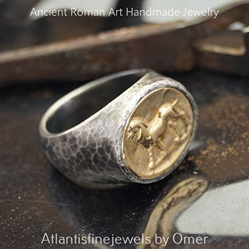Bold Collection Lion Coin Unisex Men's Ring Handmade 925 k Sterling Silver Turkish Jewelry
