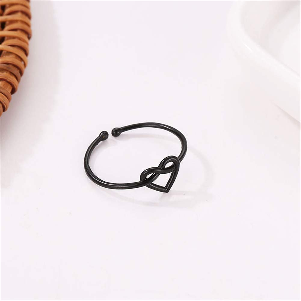 JczR.Y Heart Infinity Knot Open Rings Simple 8 Letter Love Heart Finger Rings Adjustable for Couple Girls