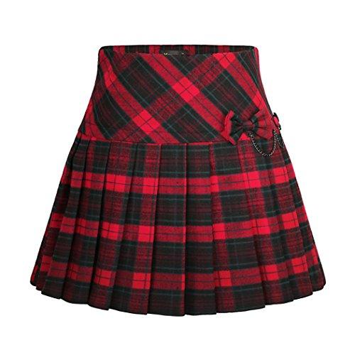Wincolor Women's A-line Plaid Wool Blend Pleated Mini Tartan Skirt with (Viscose Wool Skirt)