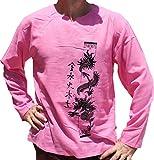 Raan Pah Muang RaanPahMuang Light Thin Gauze Cotton Open Collar Shirt Asian Dragon Column Artwork, Small, Pink For Sale