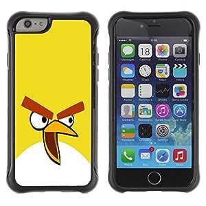 TIKO Funda Carcasa Bumper con Absorción de Impactos y Anti-Arañazos Espalda Slim Rugged Armor -- Funny Yellow Evil Bird -- Apple Iphone 6