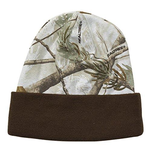 WearDgo Licensed Camo Hunting Beanies (Realtree AP White - Brown (Tree Camo Apparel)