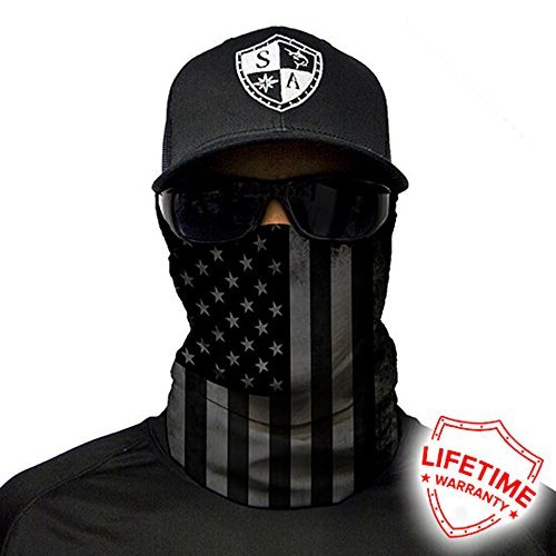 Salt Armour Face Mask Shield Protective Balaclava Bandana MicroFiber Tube Neck Warmer - Blackout American Flag ()