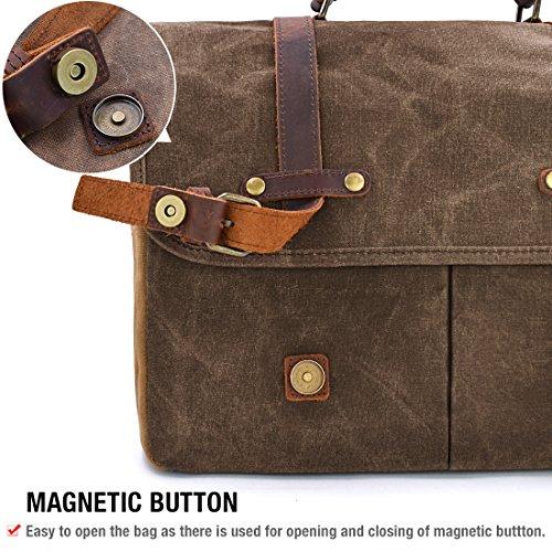 c8ca427e14 ... Mens Messenger Bag 15.6 Inch Waterproof Vintage Genuine Leather Waxed  Canvas Briefcase Large Satchel Shoulder Bag