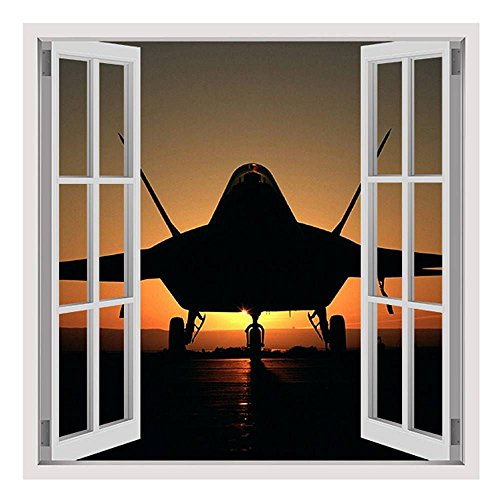 Alonline Art - Jet Silhouette In The Sunset by Fake 3D Window | framed stretched canvas on a ready to hang frame - 100% cotton - gallery wrapped | 28