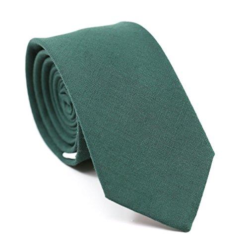 Forest Green Tie - DAZI Men's Skinny Tie, Cotton Wool Linen Necktie, Great for Weddings, Groom, Groomsmen, Missions, Dances, Gifts. (Forest Green Cotton)
