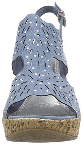 Marco Tozzi 28364 - Sandalias de vestir de lona para mujer Azul - azul (Denim 802)