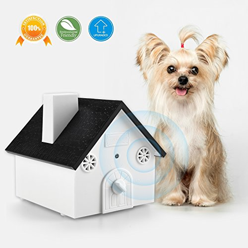 Homitem Ultrasonic Outdoor Bark Controller Anti-barking Devices Sonic Bark Deterrent by, No Harm To Dogs or other Pets,Plant,Human,Easy Hanging/Mounting,3 Modes,Birdhouse Shaped,White (White Birdhouse Dog)