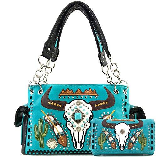 Justin West Native Longhorn Cow Skull Cactus Feather Color Conceal Carry Shoulder Handbag Purse | Trifold Wallet (Turquoise Purse Wallet Set) - Leather Tri Fold Handbag