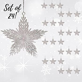 Star Christmas Ornaments - Pack of 24 Iridescent 6 inch Star Christmas Ornaments - Glitter Filled Acrylic - Hanging Stars - Shatterproof Ornaments