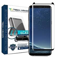 Tech Armor Samsung Galaxy S8 Premium 3D-Edge HD Clear Ballistic Glass Case-Friendly Screen Protector (Black) [1-Pack]