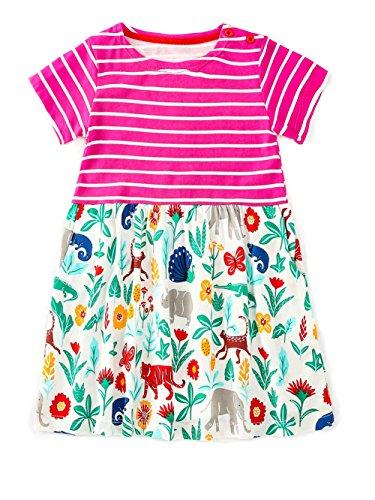 Little Girls Dress Cartoon Cotton Kids Summer Striped Floral Skirt Dress Aline 2T