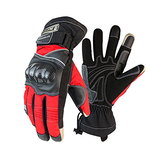 Scoyco MC15B-2 Thermal Waterproof Motorcycle Racing Gloves Off-road Motocross Protective Gear Carbon Fiber Shell (XL, Red)