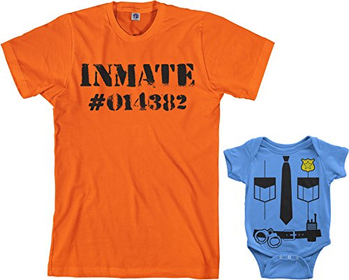 (Police Officer & Inmate Infant Bodysuit & Men's T-Shirt Halloween Costume Set (Baby: 6M, Light Blue|Men's: M,)