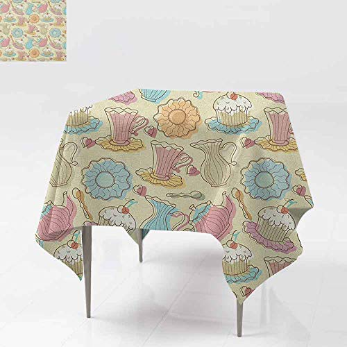 AndyTours Square Tablecloth,Tea Party,Old Fashioned Hand Drawing Style Creamy Cupcakes Mugs Coffee Drinks Cute Hearts,for Events Party Restaurant Dining Table Cover,36x36 Inch Multicolor ()