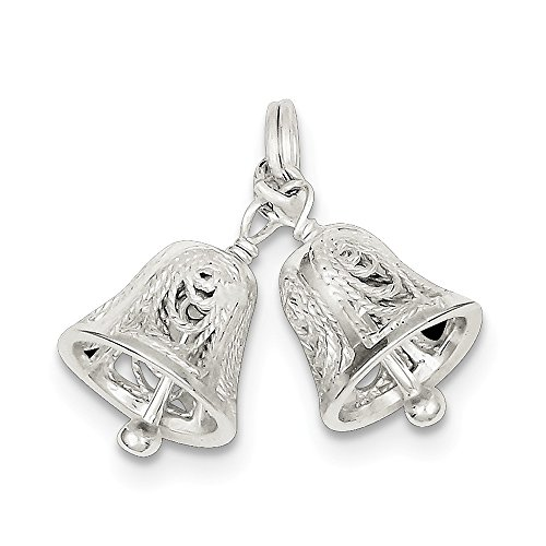 Sterling Silver Polished Moveable Filigree Bells Charm