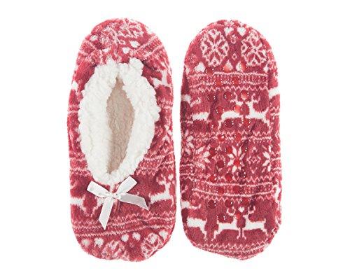 Fur Slip Booties Redwinter Womens's Slipper Faux Resistant Sole Socks wIw7xzq