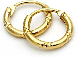 Yellow Gold-Tone Ladies Circle Diamond-Cut Design and Children Hoop Earrings (10mm x 1.5mm)
