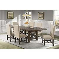 Picket House Furnishings Francis Dining Set-Table & 6 Fabric Side Chairs Rustic/Chestnut/Rubber Wood/7 Piece