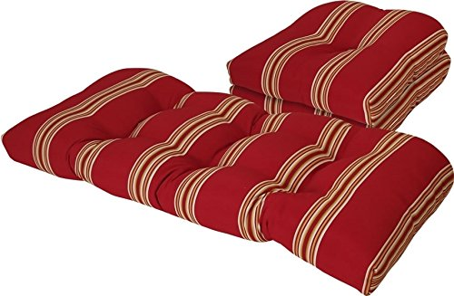 (Outdoor Cabana Stripe Chili Pepper 3 Piece Cushion Set)