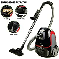 Ovente ST1600B Canister Vacuum with Tri-Level Filtration: Dust Bag, Outlet HEPA Filter, and Inlet Filter, 1400W, Energy-Saving Variable Suction, 1.5M Crush-Proof Hose, Automatic Cable Rewind, Black