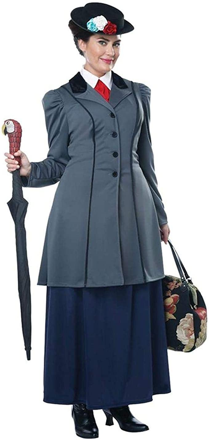 1900s, 1910s, WW1, Titanic Costumes Womens Plus Size English Nanny Mary Poppins Costume Grey $69.88 AT vintagedancer.com
