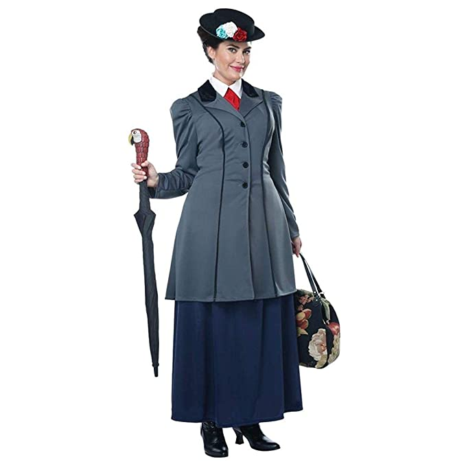 1900s, 1910s, WW1, Titanic Costumes Womens Plus Size English Nanny Mary Poppins Costume Grey $79.94 AT vintagedancer.com